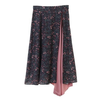 【スカート】小花柄サテン配色切替スカート