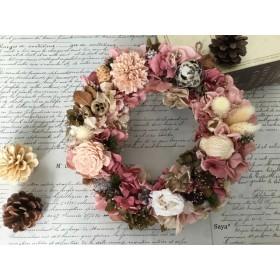 Antique pink  Christmas wreath  クリスマスリース