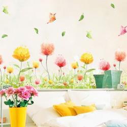 【半島良品】DIY無痕創意牆貼/壁貼-彩色花叢 XL7179中