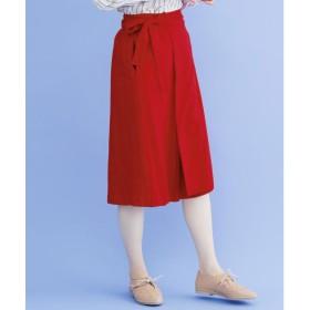 メルロー merlot リネンミックスラップスカート (レッド)