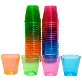 (300-Count) - Party Essentials Hard Plastic 30ml Shot Glasses, Assorted Neon (300-Count)