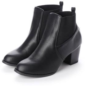 セシール CECILE サイドゴアショートブーツ (ブラック)
