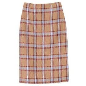 ティティベイト titivate フェイクツイードチェックタイトスカート (キャメル)