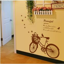 【半島良品】DIY無痕創意牆貼/壁貼-花朵腳踏車 AY7021中