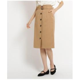 【Lサイズあり】ベルト付フロントボタンスカート