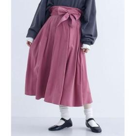 メルロー merlot ウエストリボンコーデュロイタックスカート (ピンク)