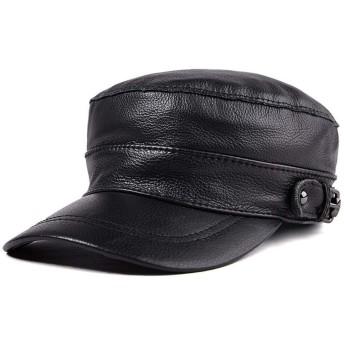 VIOAPLEM VIOAPLEMマンのギフトレザーハットユニセックス秋と冬のファッションフラットトップハットコットンキャップ暖かい帽子 (Color : Black, Size : L)
