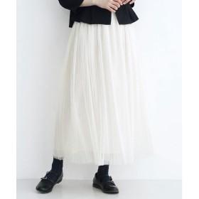 メルロー merlot チュールプリーツスカート (アイボリー)