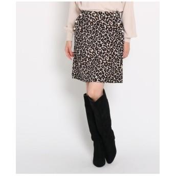 【GISELe12月号掲載】フェイクパール付きレオパード柄ミニスカート