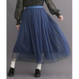 メルロー merlot 【merlot plus】エアリーチュールスカート (ブルー)