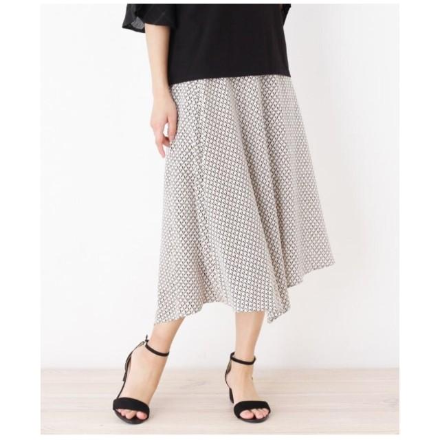 【大きいサイズあり・13号・15号】バイアスヘム幾何プリントスカート