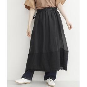 メルロー merlot フラワーレース切り替えシアーレイヤードスカート (ブラック)