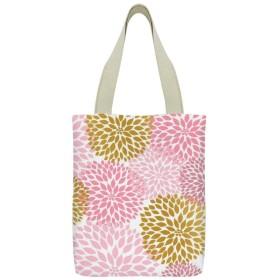 ダリア 花柄 キャンバス トートバッグ 手提げバッグ ハンドバッグ レディース ショルダーバッグ 大容量 通勤通学 両面印刷