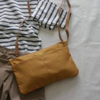 帆布 5ポケットショルダー / サコッシュ / バッグ イン バッグ (color: camel×camel)