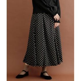 メルロー merlot ドット柄マーメードフレアスカート (ブラック)