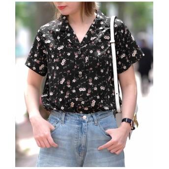 【古川未鈴さん着用】オープンカラー花柄シフォン半袖アロハ開襟シャツ