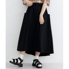 メルロー merlot ビッグポケットフィッシュテールコットンスカート (ブラック)