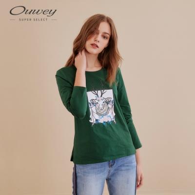 OUWEY歐薇 典雅刺繡山羊膠印長袖棉質上衣(綠)