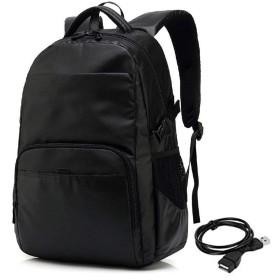 QTMIAO-Bags USBレトロなメンズバックパックの男性カジュアルファッションオックスフォードバッグコンピュータバッグランドセル (Color : Black)
