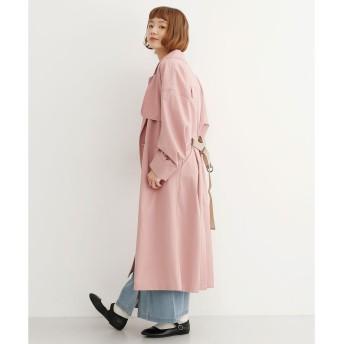 メルロー merlot テープベルト付ビックスリーブトレンチコート (ピンク)
