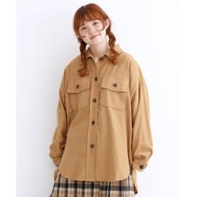 メルロー merlot コーデュロイビッグシルエットCPOシャツ (ベージュ)