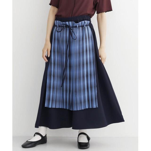 メルロー merlot チェックプリーツ前かけデザインスカート (ネイビー)
