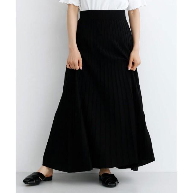 メルロー merlot ストライプフレアニットスカート (ブラック)