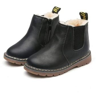 [マリア] ショートブーツ キッズ 子供用 裏起毛 マーティンブーツ マーティン靴 防寒靴 男の子 女の子 イギリス風 ブラック(普通) 【30】
