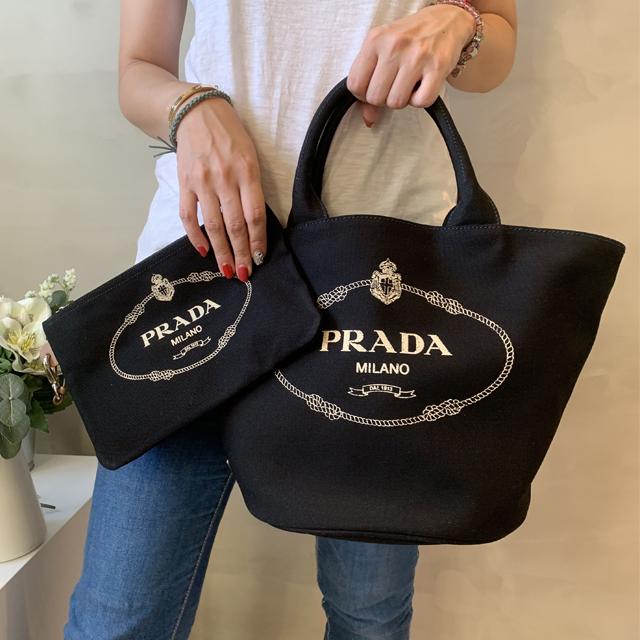 【PRADA】黑色帆布筒形購物包(子母袋)