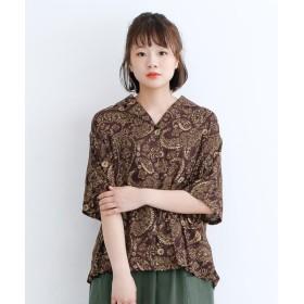 メルロー merlot オリエンタルペイズリー柄オープンカラーシャツ (ブラウン)