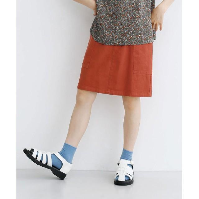 メルロー merlot コットンツイル配色ボタンミニスカート (オレンジ)