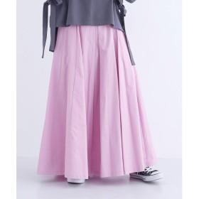 メルロー merlot ボックスタックコットンマキシスカート (ピンク)