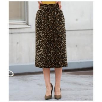 【Alluge】 微シャギーヒョウ柄ジャガードタイトスカート