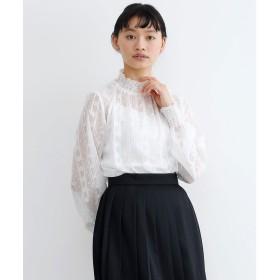メルロー merlot 【merlot plus】フラワードット刺繍シフォンギャザーブラウス (ホワイト)