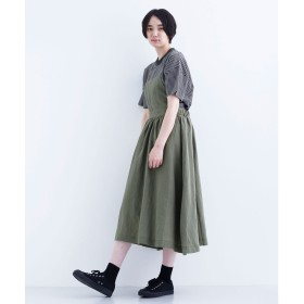 メルロー merlot 【MERLOT IKYU】麻混ジャンパースカート (カーキ)