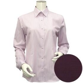 [マルイ] 形態安定 ノーアイロン 長袖ワイシャツ レギュラー衿 白×ピンクストライプ/ブリックハウス(BRICKHOUSE)