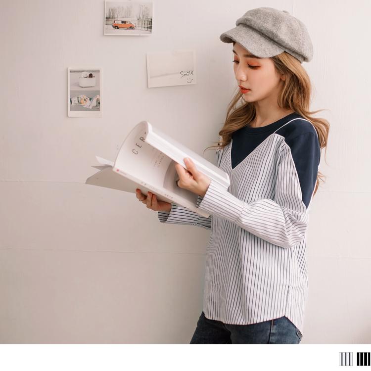 高含棉直條紋拼接細肩帶長袖上衣