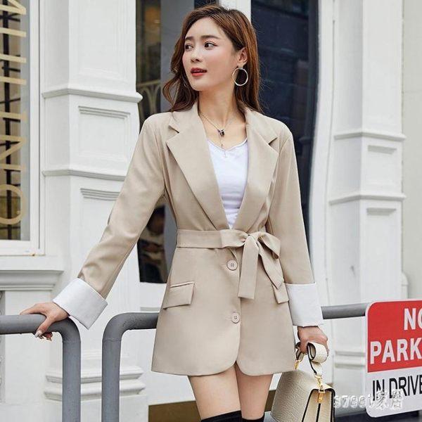 中長款寬鬆小西裝外套系帶西服外套女休閒韓版2019秋冬新款潮
