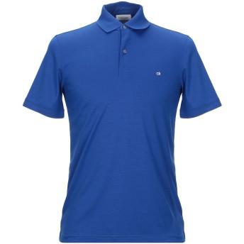 《セール開催中》CALVIN KLEIN メンズ ポロシャツ ブライトブルー S コットン 100% SOFT INTERLOCK LOGO