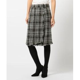 ミューズ リファインド クローズ ツイードラップライクフリンジタイトスカート レディース キャメル M 【MEW'S REFINED CLOTHES】