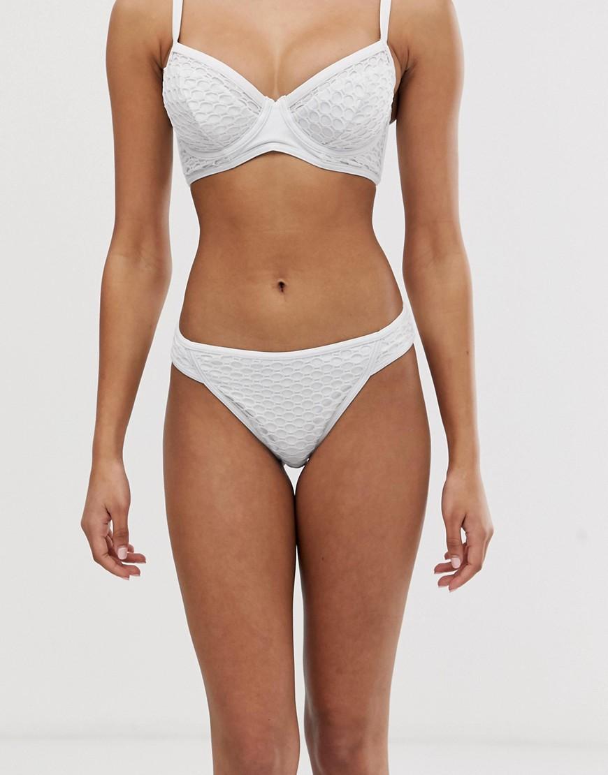 ASOS DESIGN fuller bust exclusive fishnet overlay bikini bottom in white
