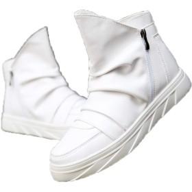 [CHIIKA] ハイカットシューズ ショートブーツ カジュアルシューズ レザー ドレープ サイドジップ 厚底靴 防水 イギリス風 オシャレ ファッション 履きやすい 街履き カジュアル 秋 冬 ホワイト