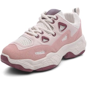 [Pooxun] スニーカー トレンド レディース 厚底スニーカー 韓国 ダットシューズ ベージュ レディースシューズ ランニングシューズ 黒 女性用 ピンク