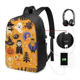 ハッピーハロウィン リュック バックパックリュックサック USB充電ポート付き イヤホン穴付き 大容量 PCバッグ レジャーバッグ 旅行カバン 登山リュック ビジネスリュック ユニセックス おしゃれ 人気