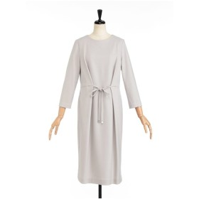 LESTERA ウエストリボンジャージードレス ワンピース,ライトベージュ