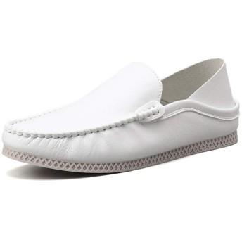 [Z-JIN] ビジネスシューズ 紳士靴 メンズ 本革 ストレートチップ レジャードライビングローファー用男性ラウンドトゥオックスフォードカジュアルフラットペニーシューズレザーアッパーステッチウォーキングボートシューズ軽量 通気 保護耐摩耗 滑り止め (Color : 白, サイズ : 24.5 CM)
