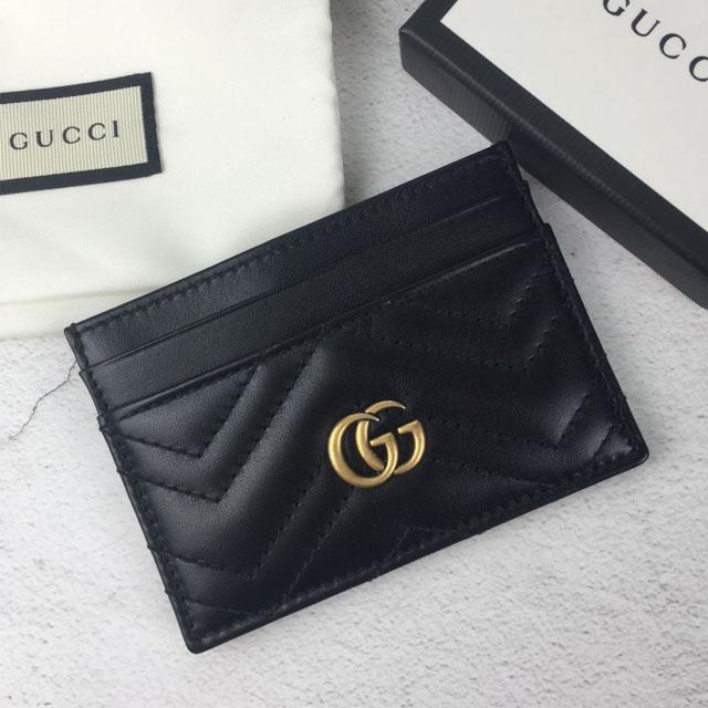 【GUCCI】marmont系列黑色大logo平面卡夾