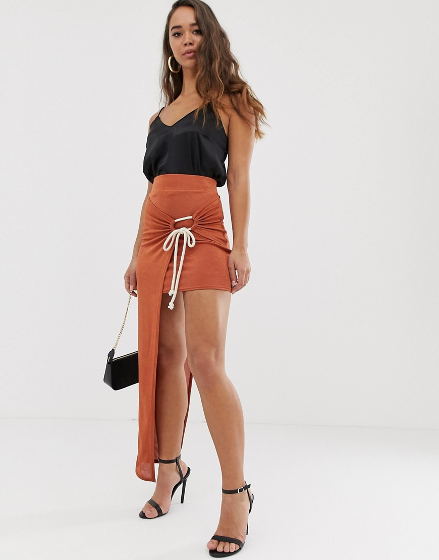 ASOS DESIGN slinky twist front maxi skirt with rope tie-Orange