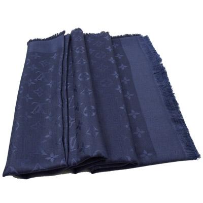 LV M72412 Monogram 經典花紋羊毛絲綢披肩圍巾.深藍色