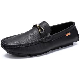 [HEHE-haha] ビジネスシューズ 紳士靴 メンズ 本革 ストレートチップ 男性ボート用モカシンOXレザーMetaldecorロートップ用ドライビングローファー (Color : ブラック, サイズ : 24 CM)
